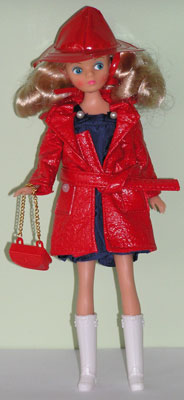 April Showers with red raincoat.